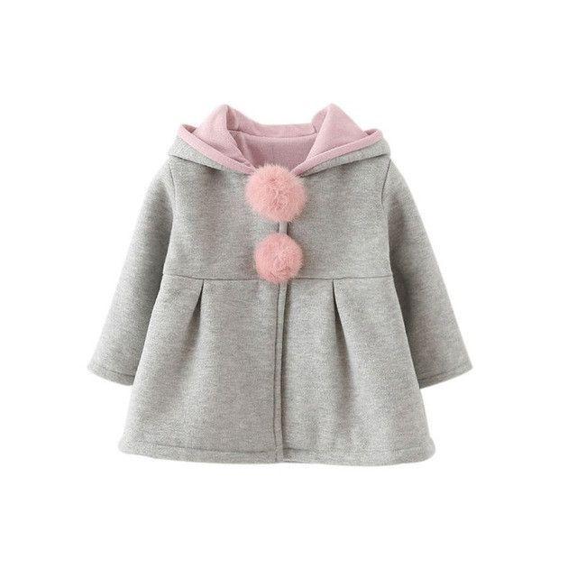 18a0eb96c3474 Winter Cute Baby Girls Clothes Rabbit Woolen Blend Children Jacket Overcoat  Hooded Warm Coat