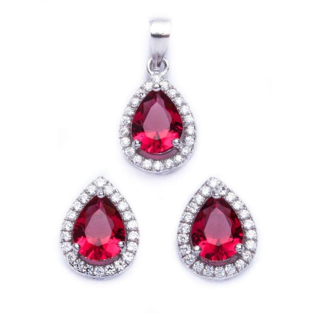 Pear Shape Garnet /& Cubic Zirconia .925 Sterling Silver Pendant /& Earring set