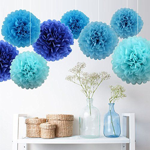 7er Pompons Set Türkis Dunkelblau Hellblau Blau deko für Hochzeit - dunkelblaue kche