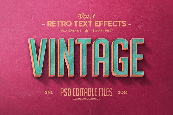 Vintage Text Effects Vol 1 Vintage Text Retro Text Text Effects
