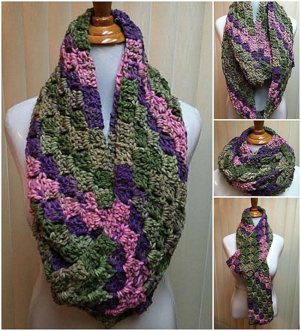 Pink and Green Scarf, Crochet Scarf, Infinity Scarf, Chunky Scarf ...