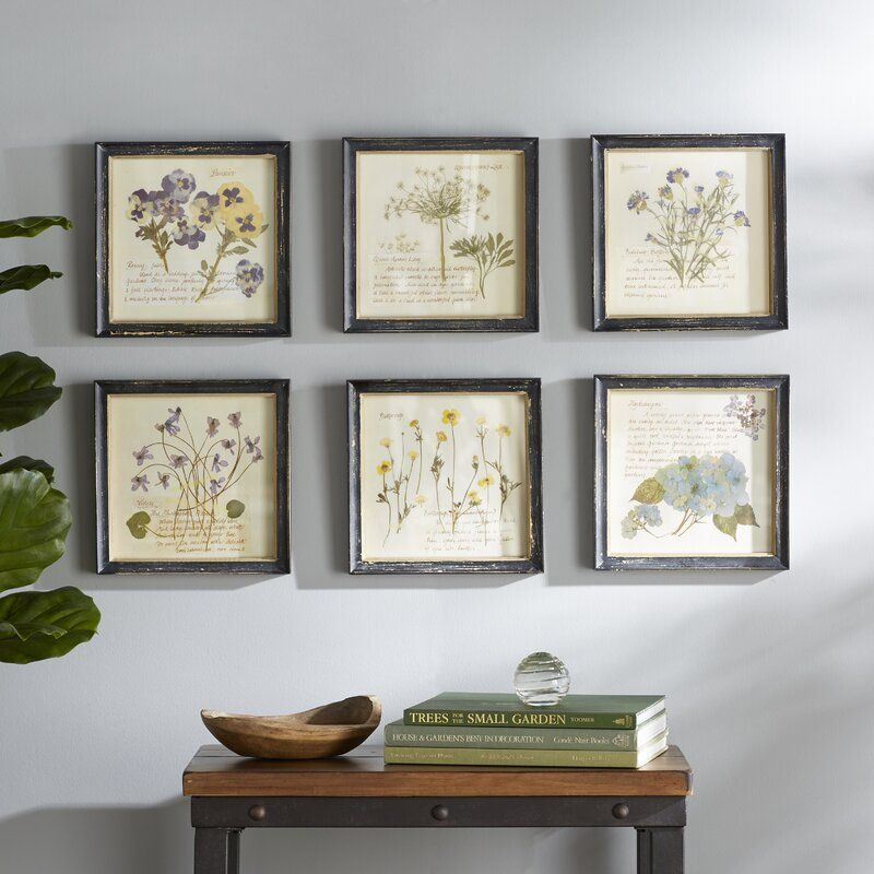 Square Wood Framed Wall Decor With Floral Images 6 Piece Picture Frame Graphic Art Print Set On Wood In 2020 Frame Wall Decor Frames On Wall Art Print Set