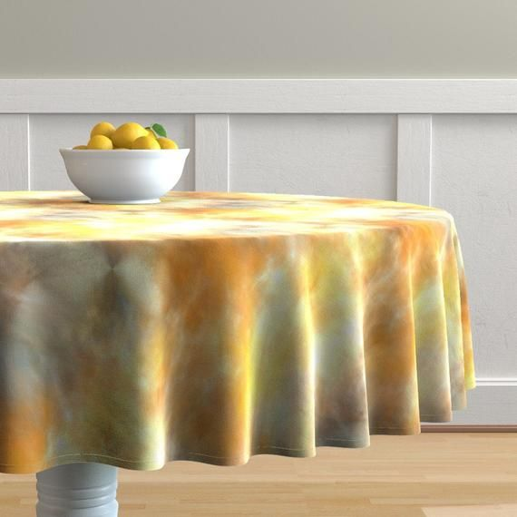 Abstract Round Tablecloth – Solar Flare by pampering_for_paupers – Watercolor Cotton Sateen Circle Tablecloth by Spoonflower