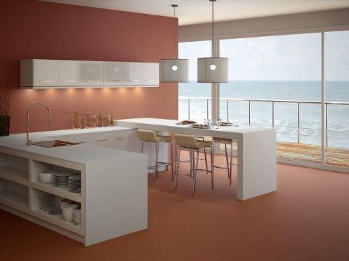 Plan de travail en céramique et quartz avec cuve à fleur pour - Table De Cuisine Avec Plan De Travail