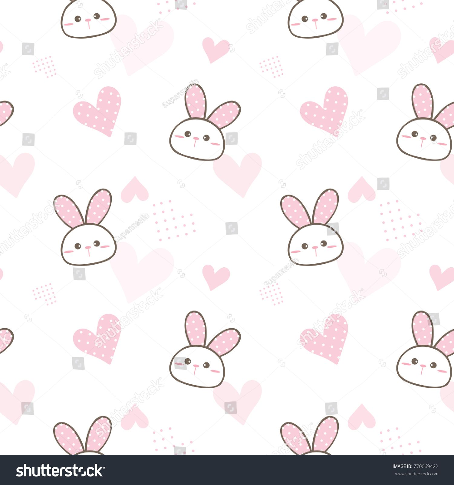Seamless Pattern Of Cute Cartoon Bunny Face And Pastel Pink Heart Design On White Background Cartoon Bunny Cute Patterns Wallpaper Kids Prints