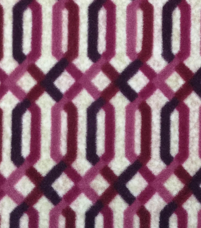 "Luxe Fleece Fabric 59"" - Oatmeal & Burgundy Lattice"