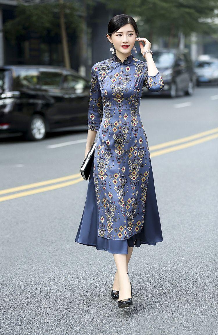 US $ 49.78 | 2018 Frühling und Herbst modelle retro Dünne Lange Ao Dai cheongsam kleid aus Asien & Pazifik Inseln Kleidung auf AliExpress.com | Alibaba Group   – Chinese Style