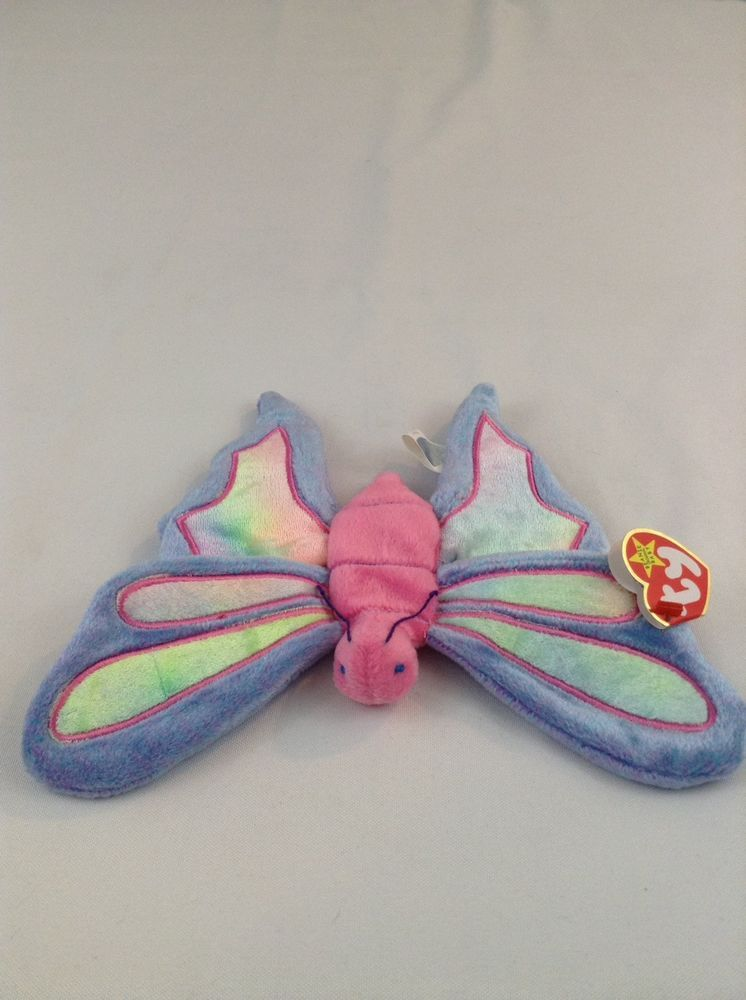 ddd25ea059c 1999 Ty Beanie Baby Flitter The Butterfly Stuffed Plush Animal Toy Colorful   Ty