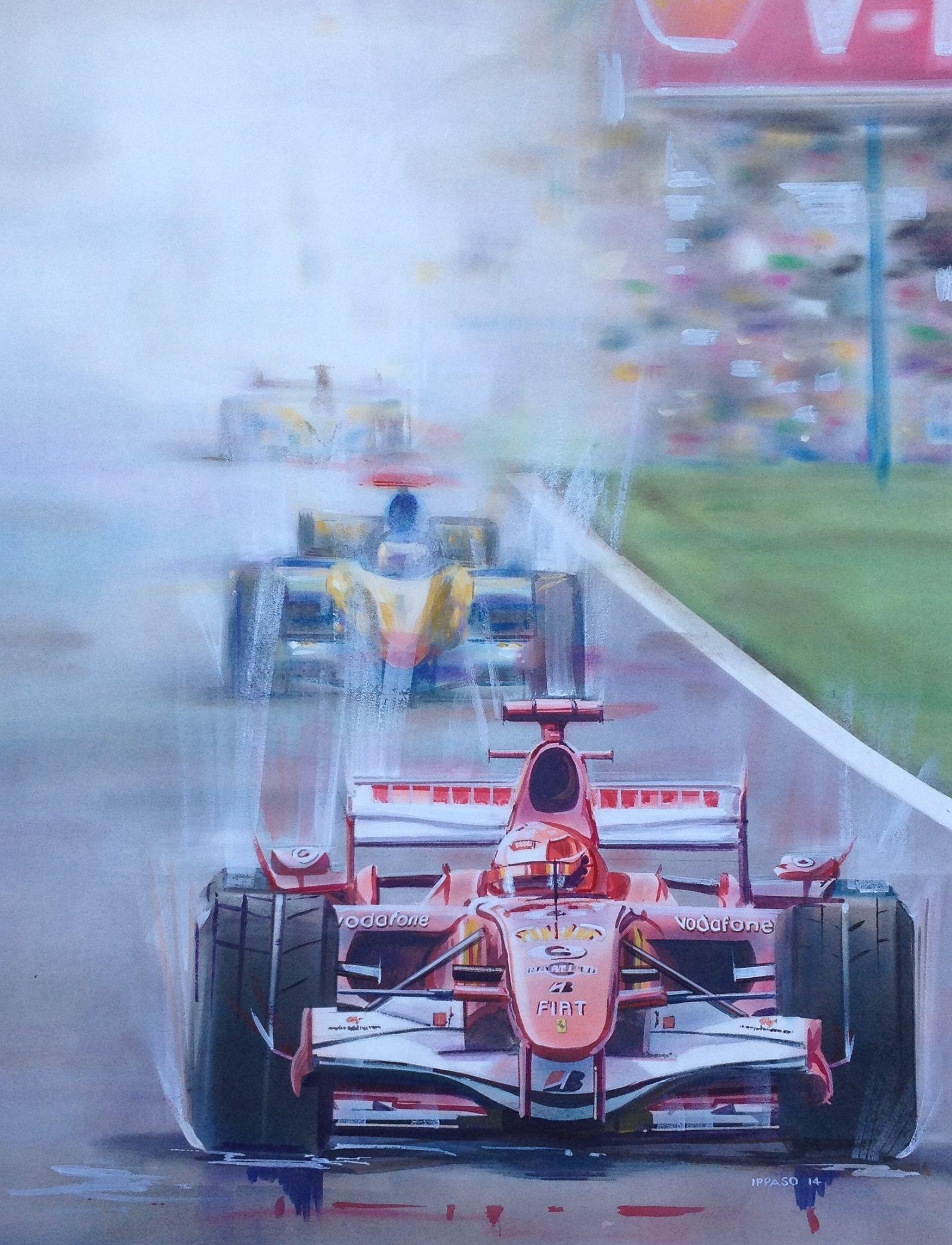 "Schumacher in Motion 40"" x 30"" Mixed Media Automotive"