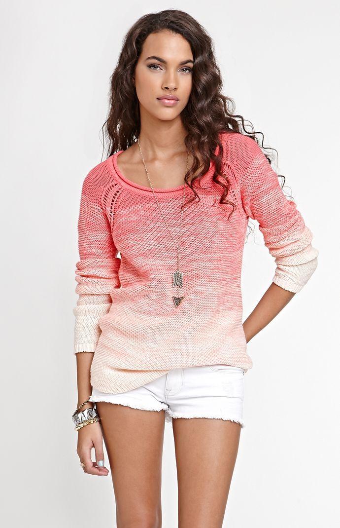 Kirra Eyelet Raglan Seam Sweater