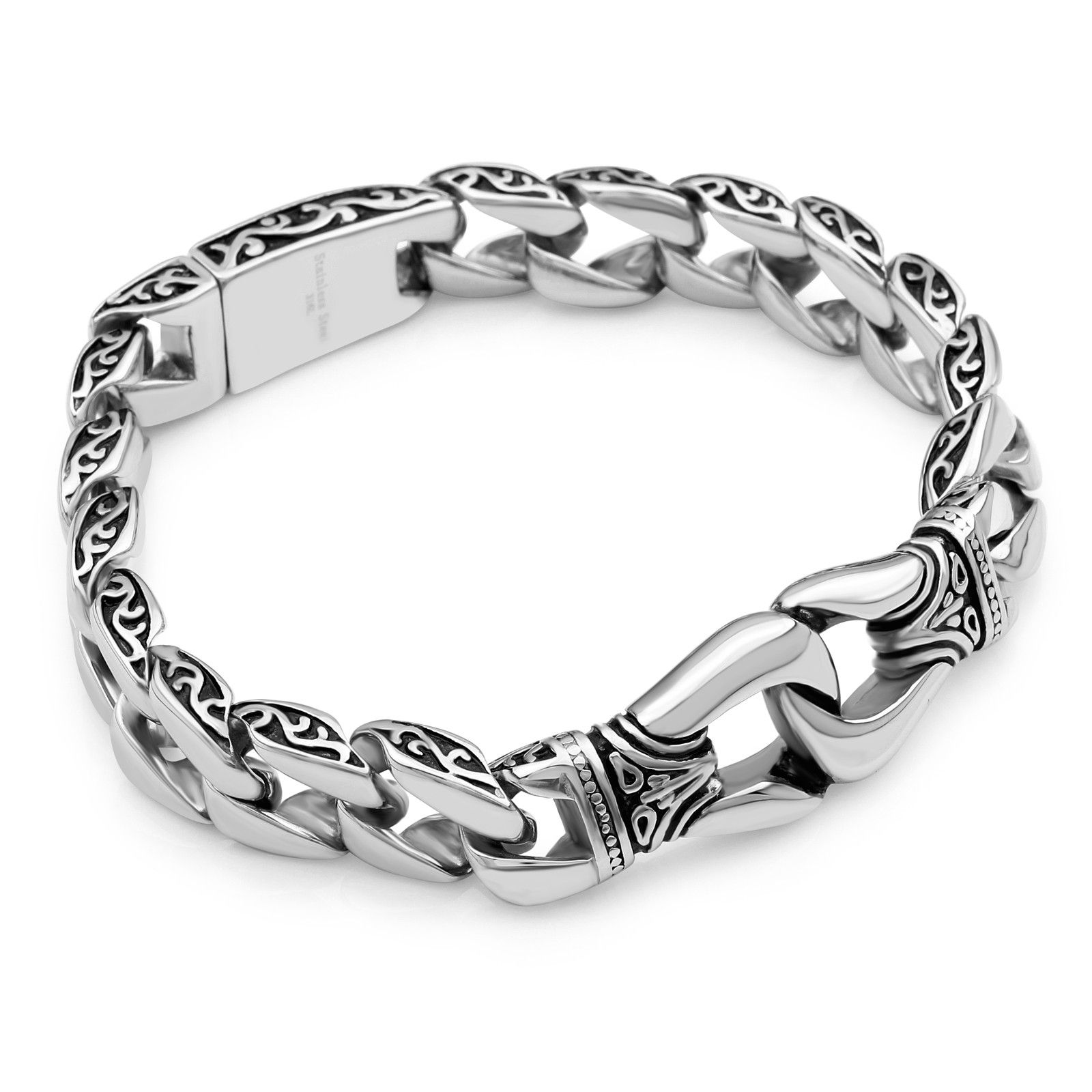 Bracelet high quality l stainless steel silver and black