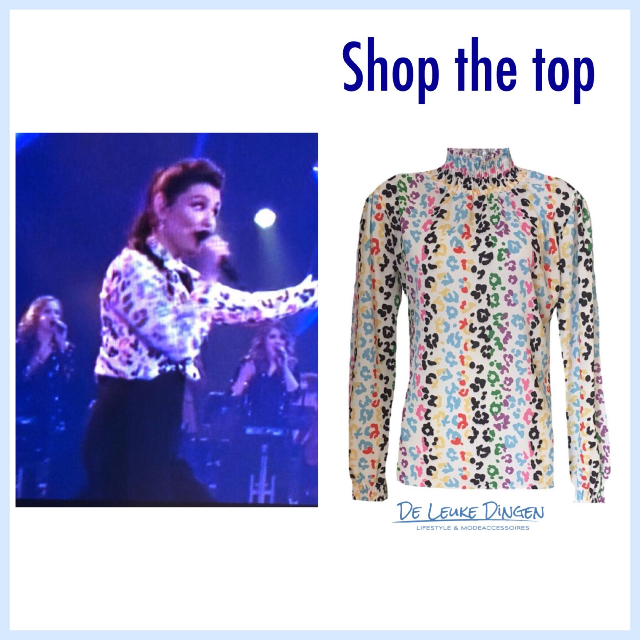 Heb jij deze vrolijke 'it takes two' rtl4 top al? Shop nu online via https://www.deleukedingen.nl/product/gekleurde-leopard-top/  #shopping #shoppingonline #shopthelook #monday #startanewweek #fashion #top #print #collourfull @deleukedingen