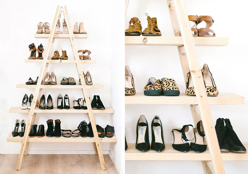 10 Creative Ideas For Storing Your Shoes // Build a shoe ladder