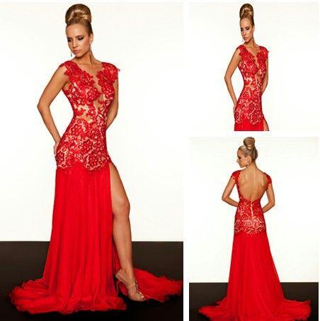 Modelos de vestidos rojos de encaje