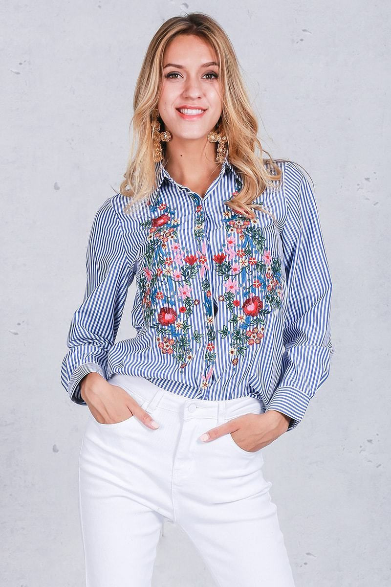Dedicated 2019 Spring New Casual White Flower Embroidery Denim Shirt Blue Ethnic Women Loose Single-breasted Long Sleeve Denim Blouse Tops Easy To Use Women's Clothing