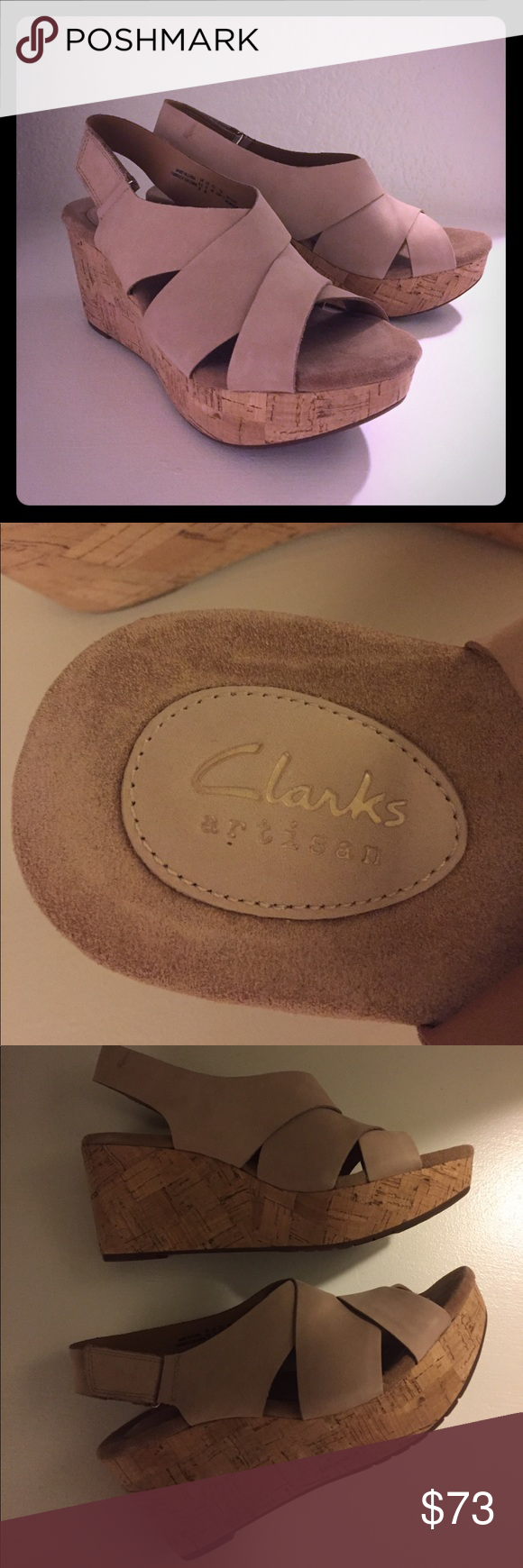 Clarks wedge sandals Beautiful nude colored Clarks wedge sandals.  Never worn! Super padded footbed for lots of comfort. Great for spring! Clarks Shoes Sandals