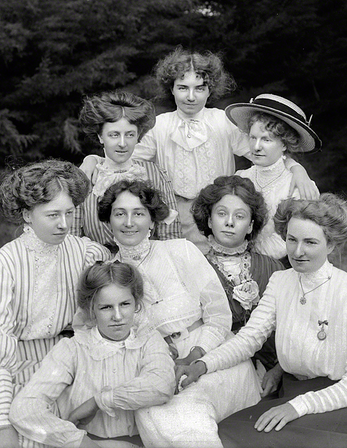 New Zealand circa 1905. Group of unidentified young women outdoors, probably Christchurch district.