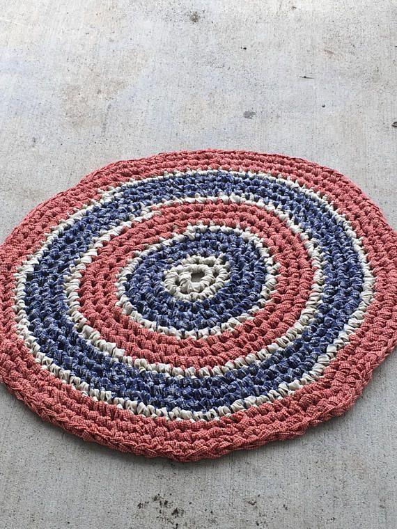 Americana Rug 35 Crochet Rag Area Rug Round Medium Floor Washable