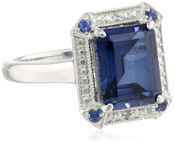 14k White Gold and Created Ceylon Sapphire Diamond-Accented Ring, Size 7