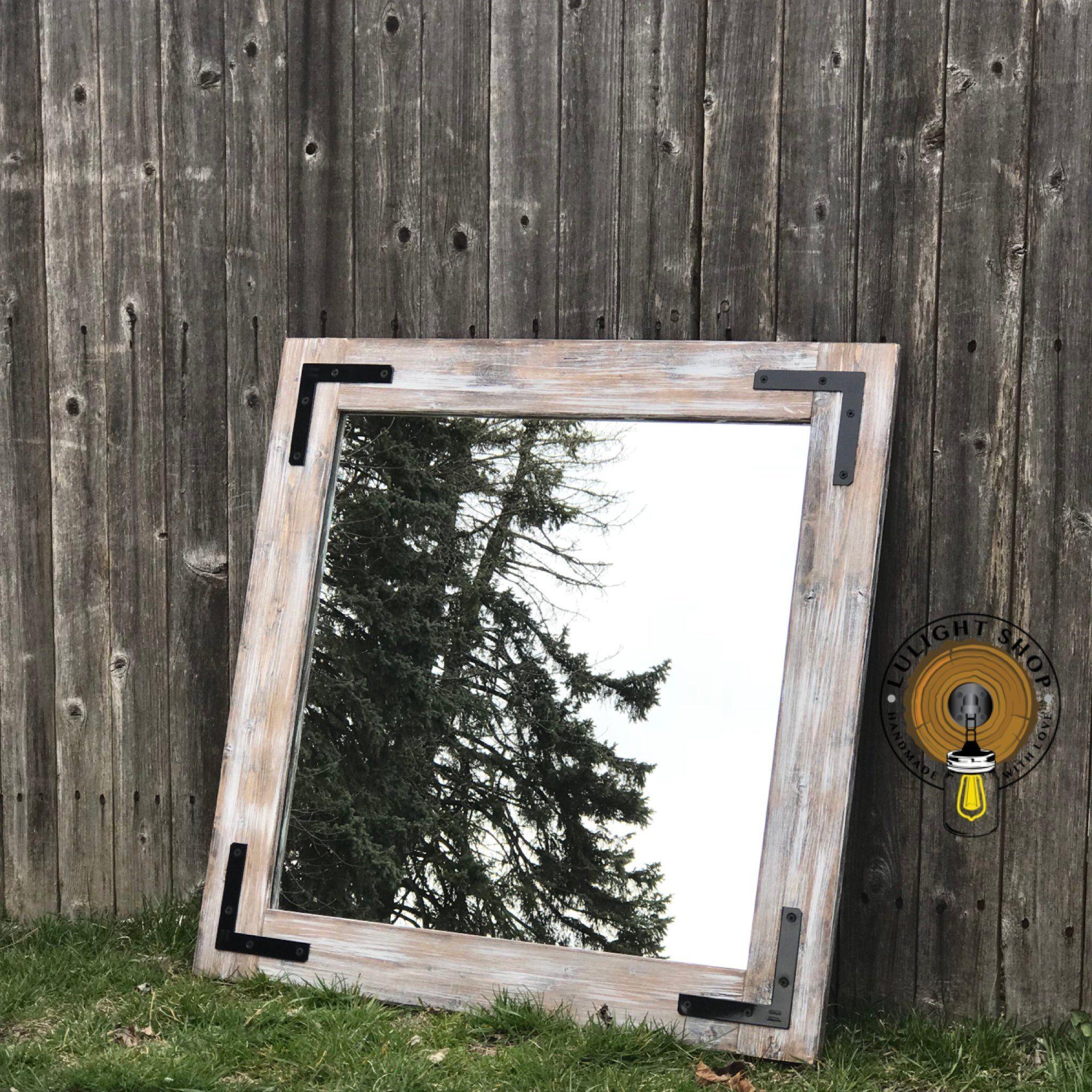 Light Whitewash Farmhouse Mirror Bathroom Wall Mirror Wood Frame Mirror Rustic Wood Mirror Vanity Mirror Small Mirror Large Mirror With Images Farmhouse Mirrors Wood Framed Mirror Rustic Mirrors