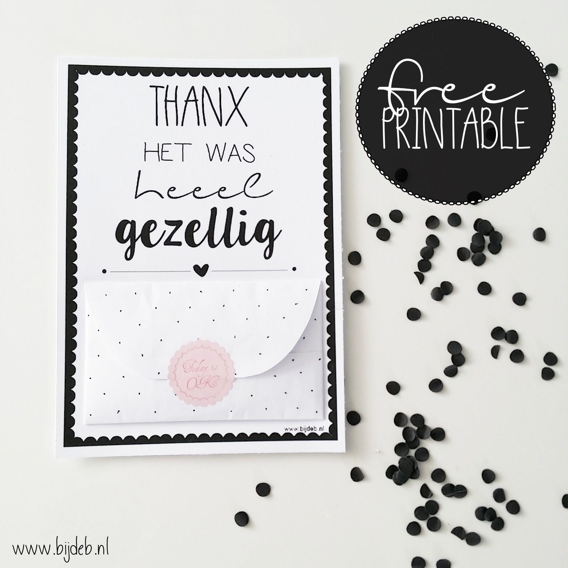 Nieuw Free printable A6 bedankt kaart met geld envelopje ook zelf maken WN-23