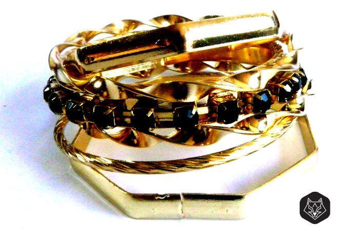 Conjunto de Pulseiras Glamour Dourado - Salvador Kayumi