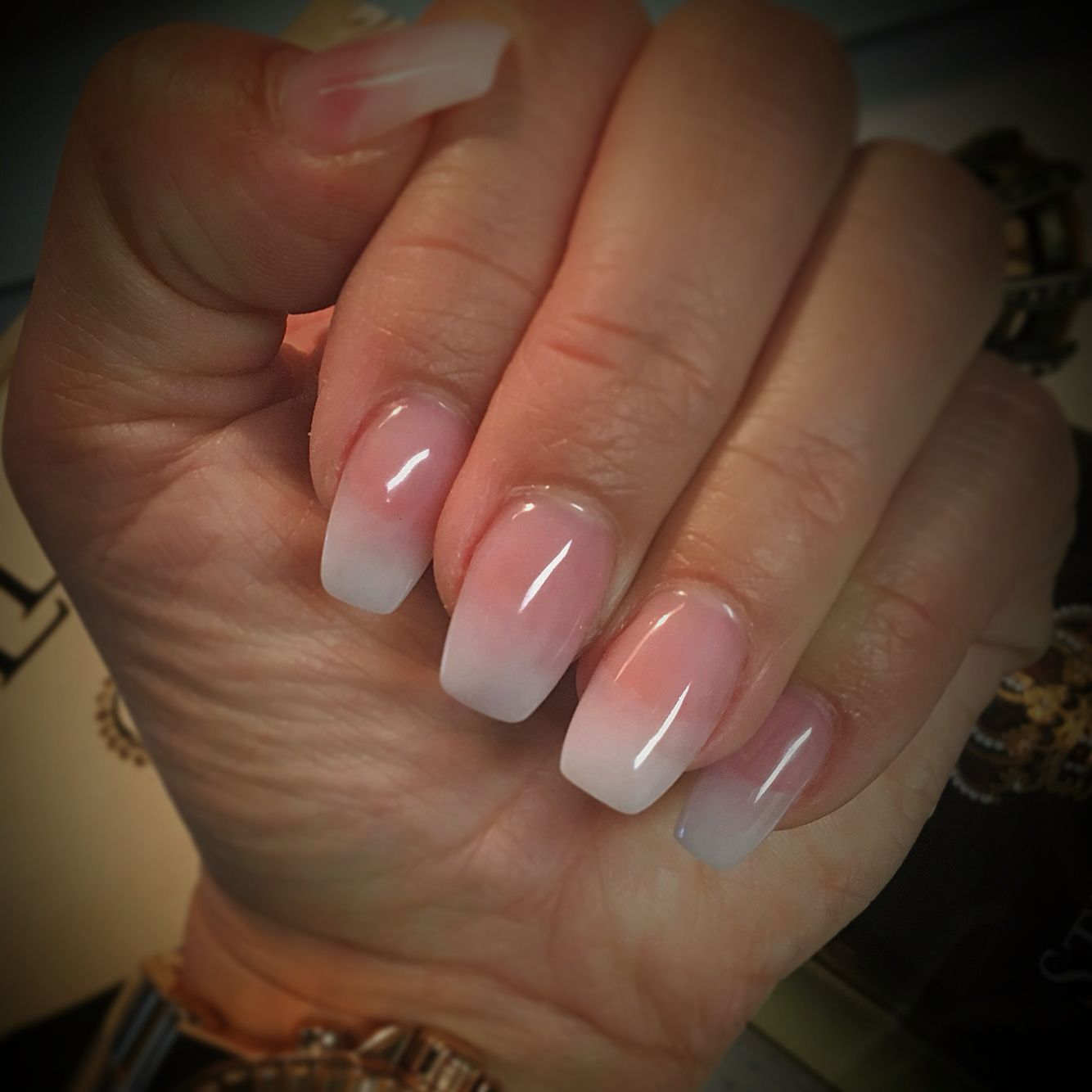 Ombre French Semi Coffin Nails No Polish All Acrylic W Gel Topcoat Coffin Nails Designs Nail Designs Bling Glitter Gel Nails