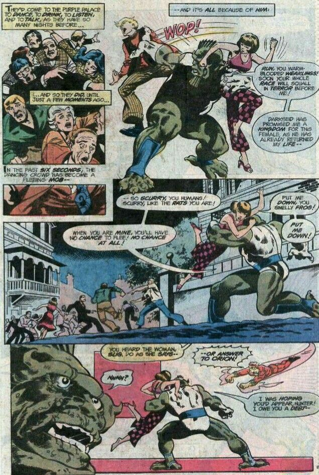 Darkseid's son Orion battles Apokolips soldier of the Deep Six Slig