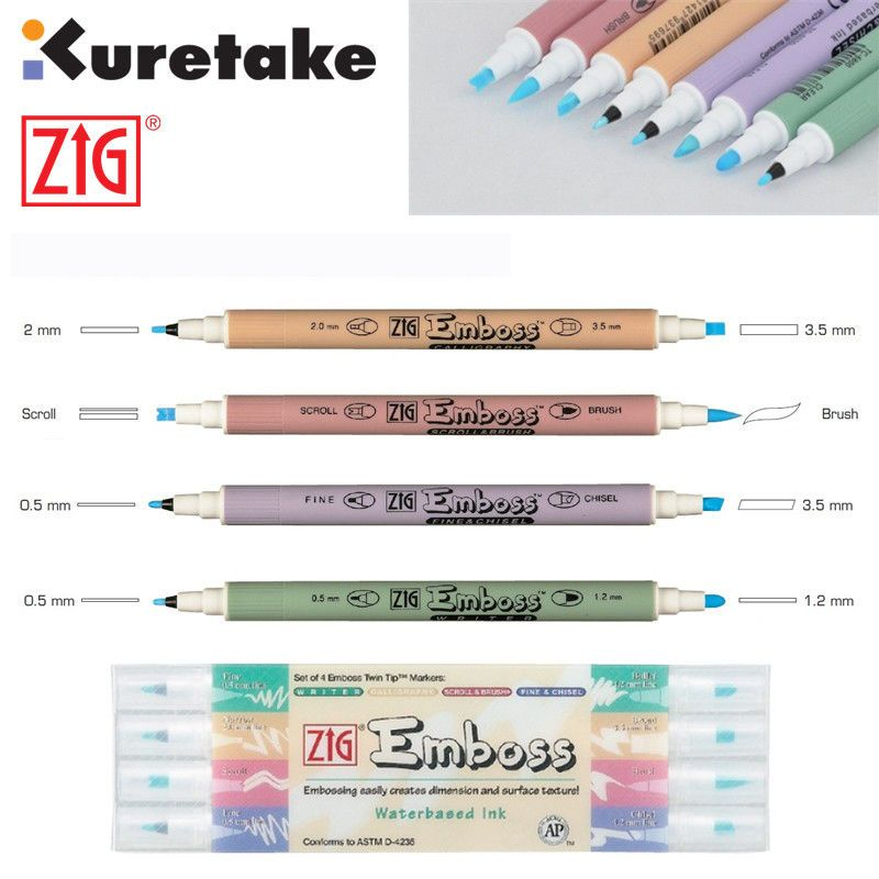 ZIG Kuretake Double Tip EMBOSS Calligraphy Brush Pen Transparent Color Japan. | eBay!