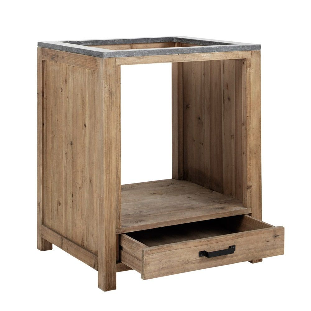 meuble bas de cuisine pour four en pin recycl l70 maisons du monde