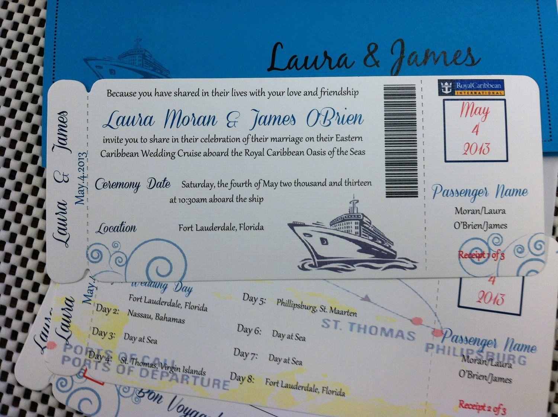 Cruise Wedding Invitations: Wedding Invites: Cruise Ship Boarding Pass Invitation Or