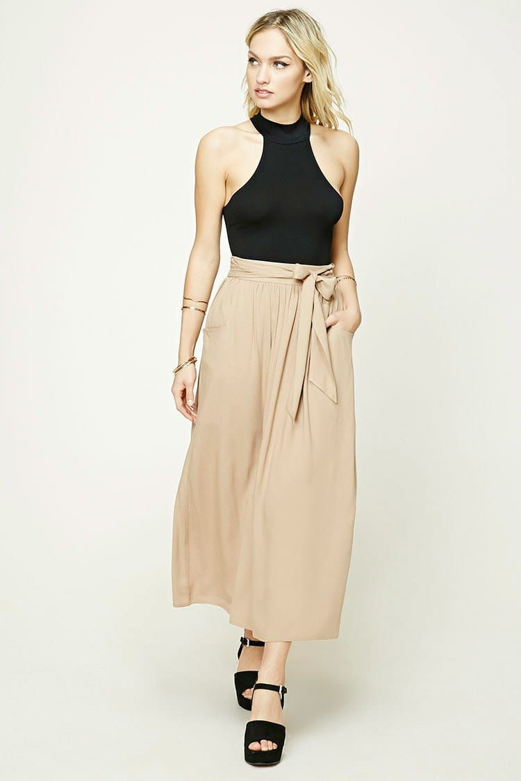 Forever contemporary a woven maxi skirt featuring a selftie