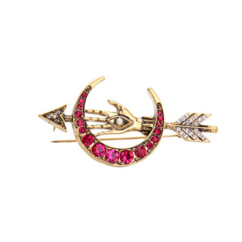 Vintage-Gold-Hotpink-Moon-Hand-Pin-Brooch