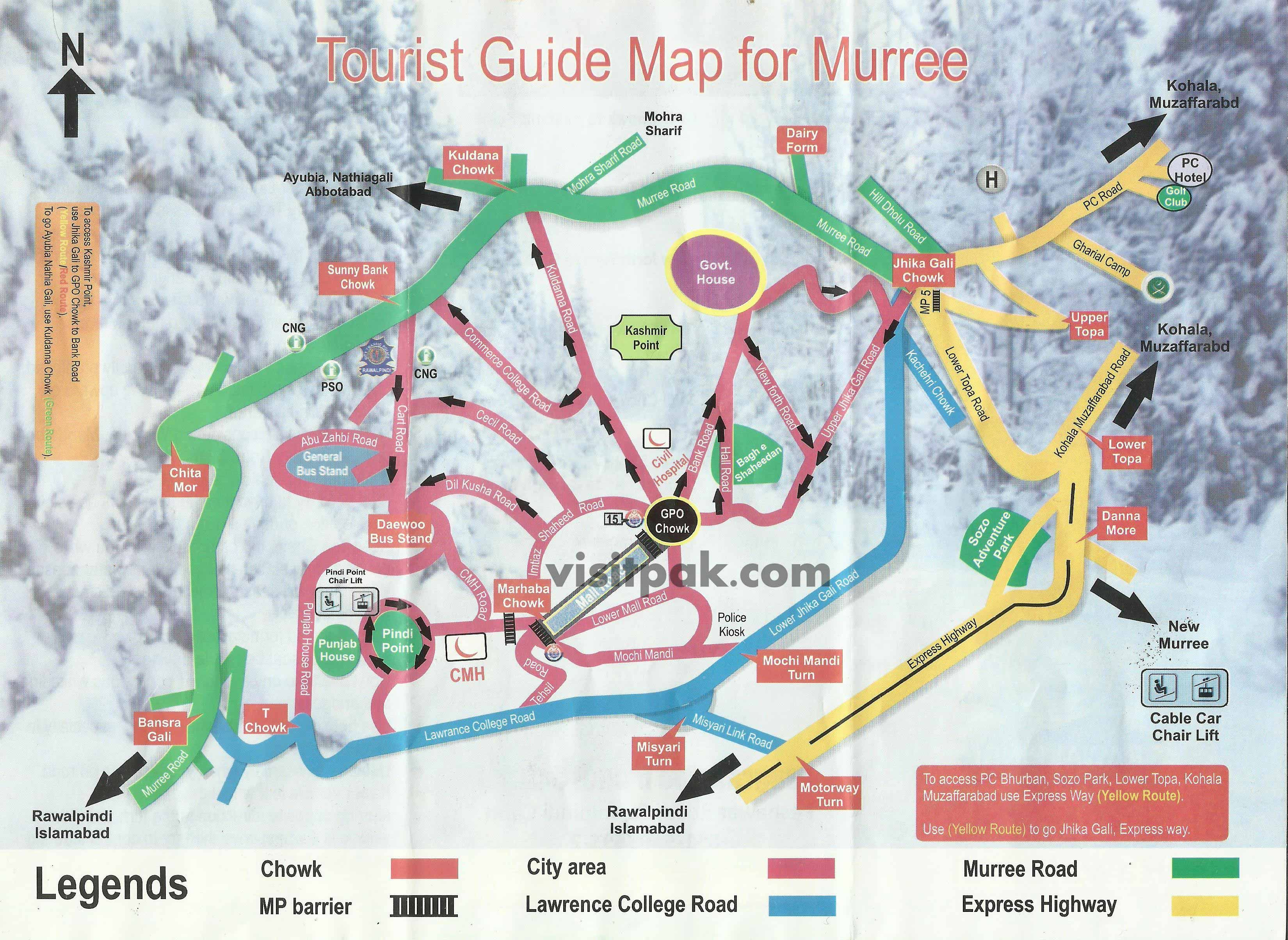 Guide map of Murree by the City Traffic Police Rawalpindi