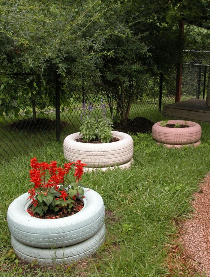 """Creative gardening tips Plant containers from old car tires is part of Creative garden Planters - Inspirational gardening tips reuse old tires Under the headline Creative """" garden Tips """"We could present an incredible number of ideas  The quest to be original and at the same time practical, as well as the breakthrough of unconventional thinking, ensures a great diversity  It offers many ideas and possibilities that would have been unthinkable …"""