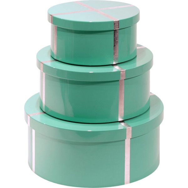 Stackable Boxes Home Decor Bungalow 5 Chiffany Round Nesting Boxes Set Of 3 $455 ❤ Liked