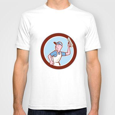Plasterer Masonry Worker Circle Cartoon T-shirt