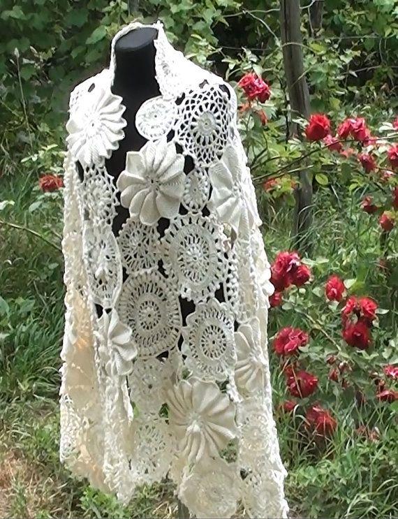 Irish crochet wedding scarf, crochet lace, crochet irish lace, irish ...