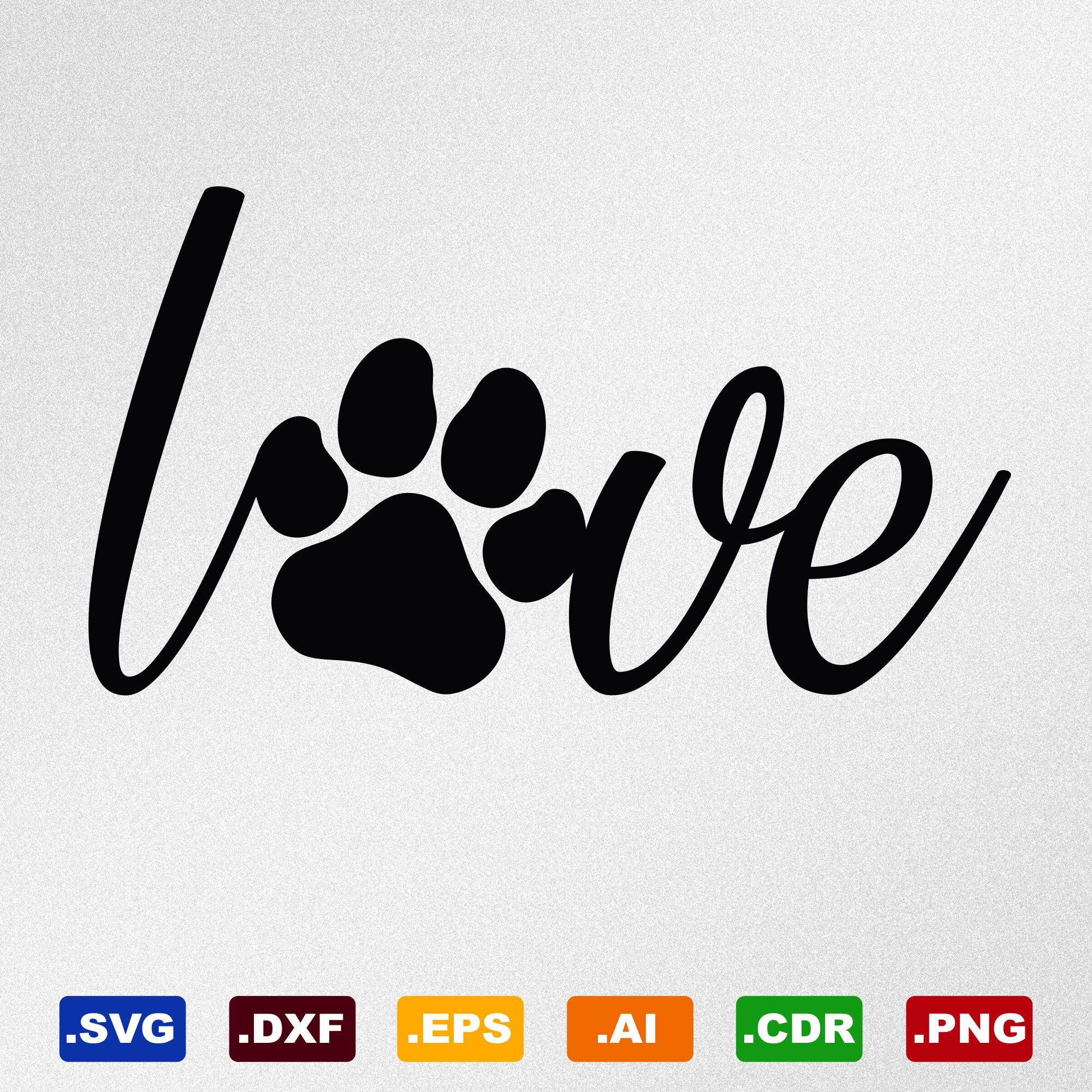 Download Love Paw Print Love Dog Svg Dxf Eps Ai Cdr Vector Files ...