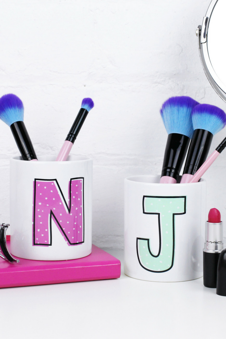 Initial Makeup Brush Holder Personalised Make Up Gift