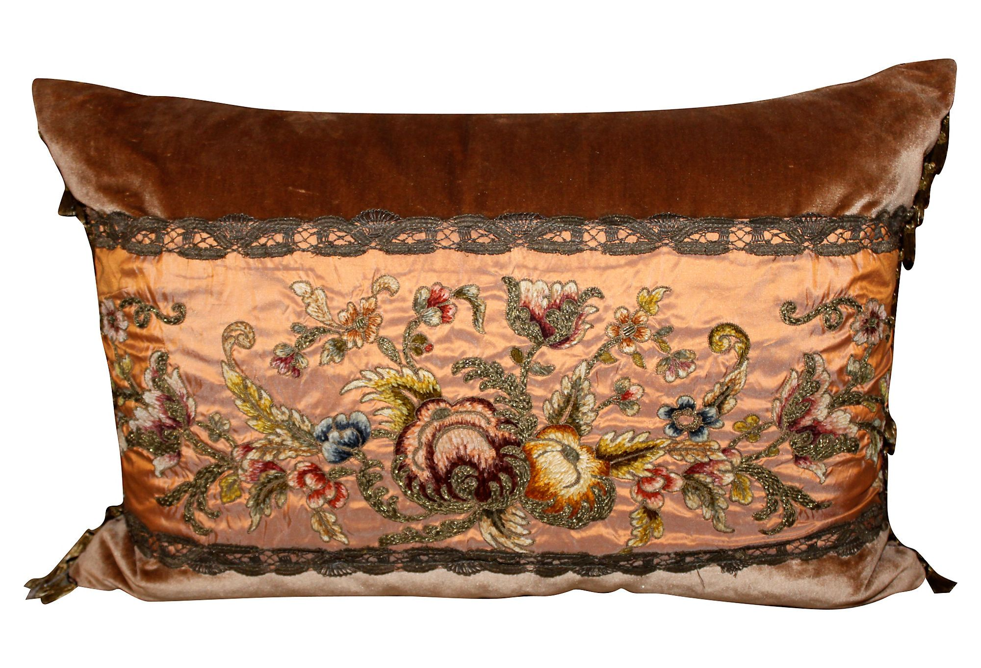 One Kings Lane Italian Influence Pillow W 19th C Embroidered Silk
