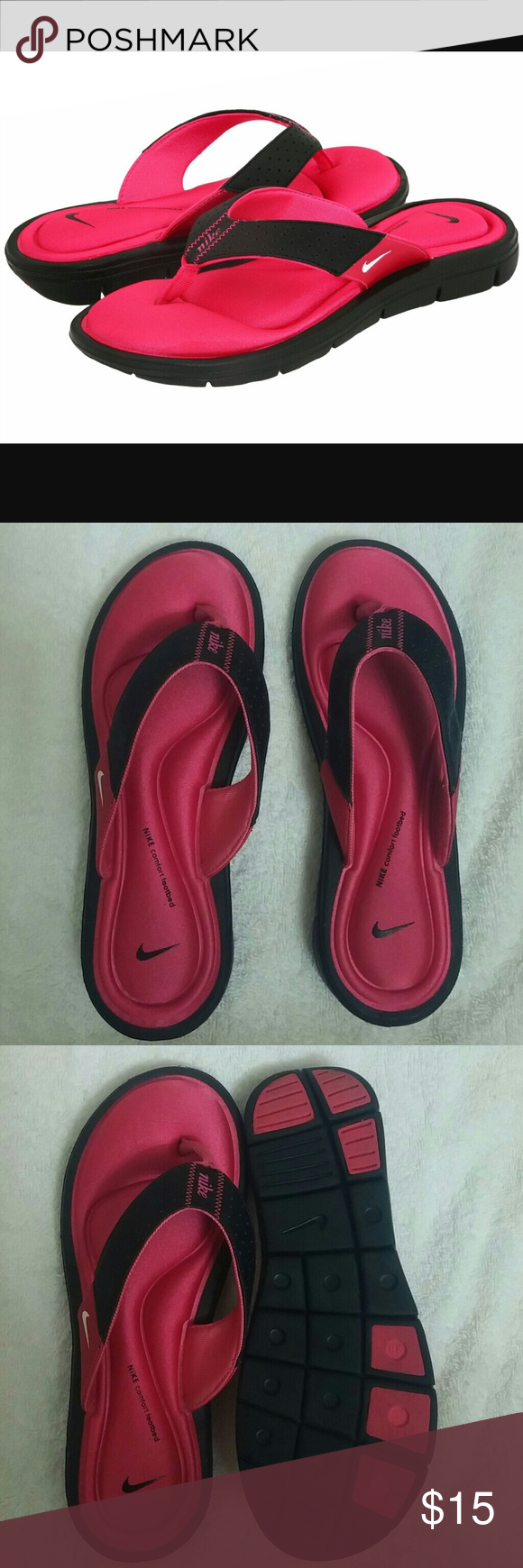Nike Comfort Thong Sandal The first picture is from the internet because the lighting in my home sucks for PM...lol! Worn once. I would say these are for someone with a narrow foot. Nike Shoes Sandals