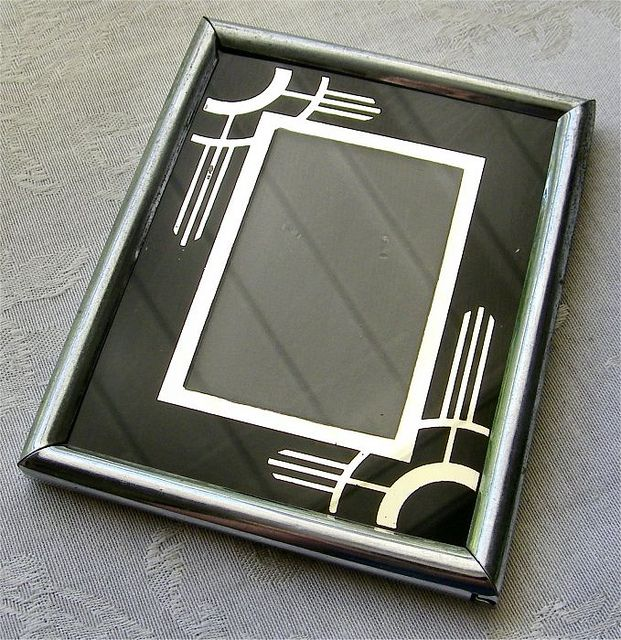 Vintage Art Deco Reverse Painted Picture Frame Art Deco