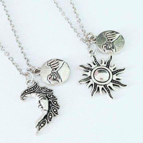 6460d0368d 2pcs Sun and Moon Necklaces Pinky Promise Swear Friendship Best Friends  Couples #Handmade #Necklace
