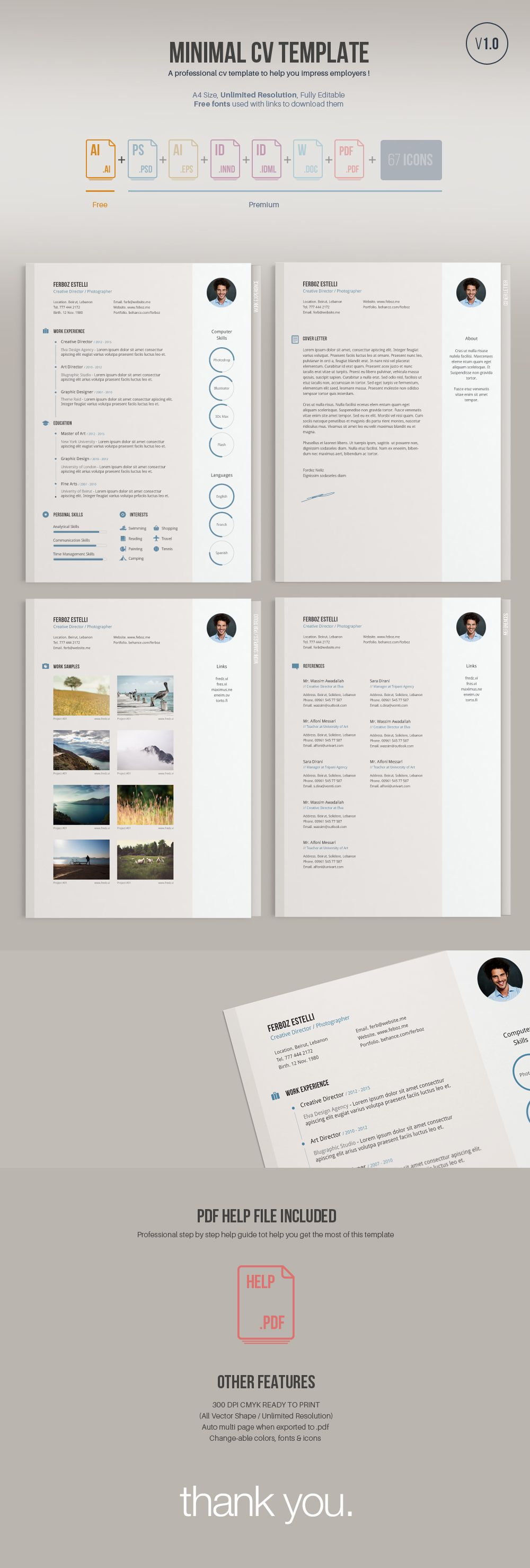 a minimal easy to edit free resume template  free version comes in illustrator vector ai format
