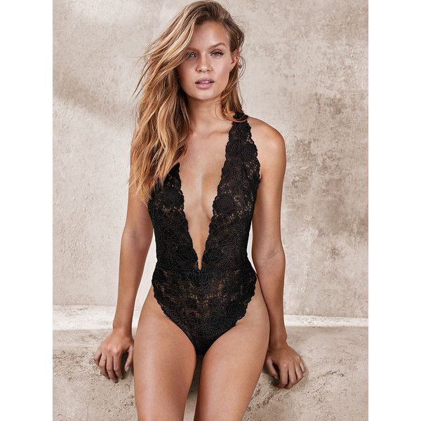 bcd4f33a11cf7 Victoria's Secret Crossback Lace Plunge Teddy ($58) ❤ liked on Polyvore  featuring intimates, black, lingerie, lace lingerie, transparent lingerie,  ...