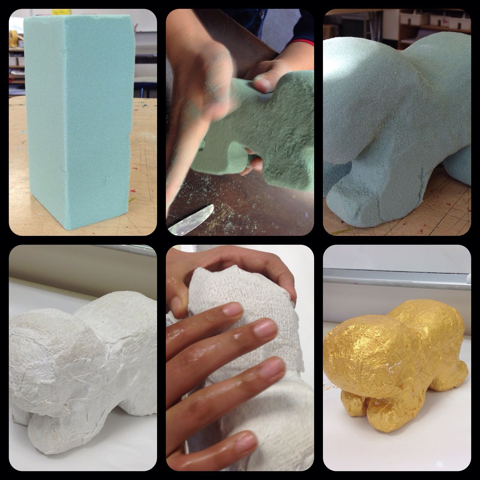 Th grade floral foam sculptures covered with plaster wrap