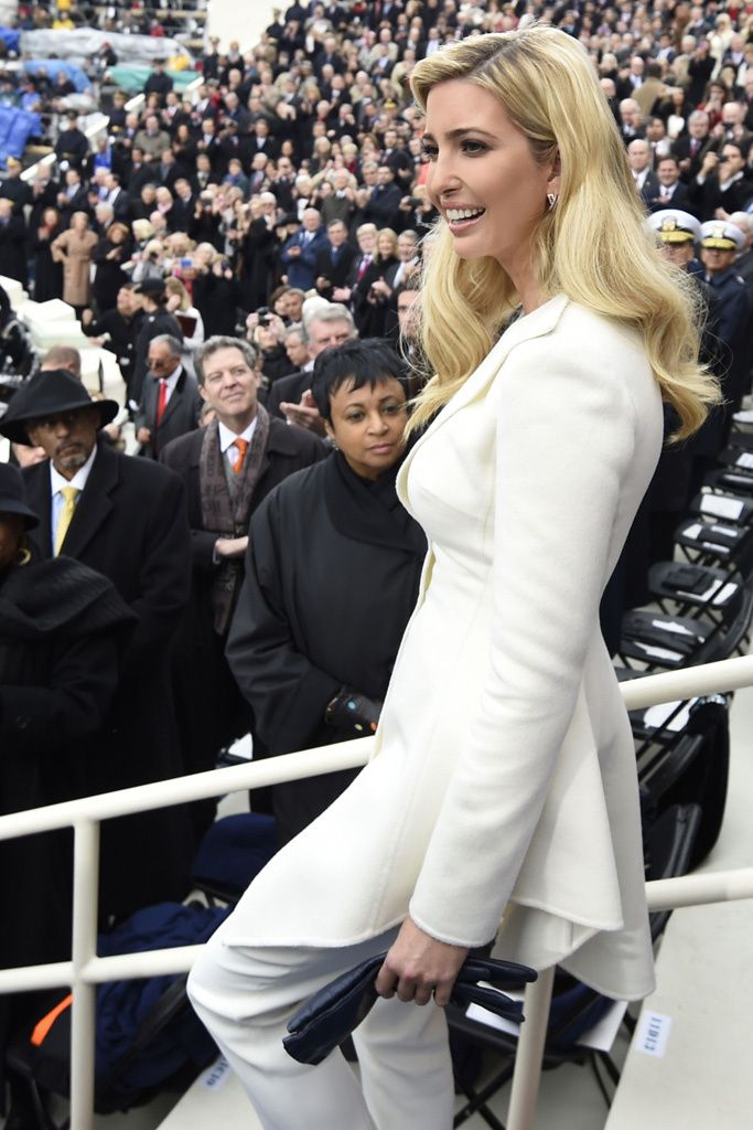 Ivanka Trump in Oscar de la Renta at the Inauguration Day ceremonies.