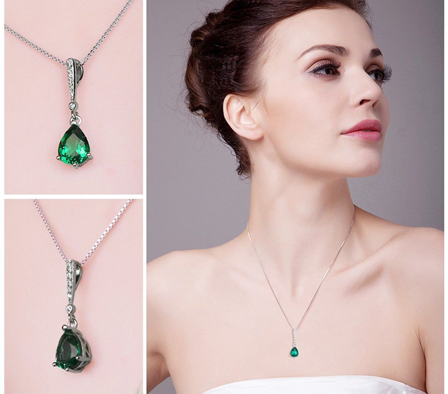 JewelryPalace Fashion 0.7ct Nano Russian Simulated Emerald Pendant Necklace 925 Sterling Silver 18 Inches 9IqyD8AluT