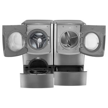 Lg Twin Wash Mega Capacity 5 2 Cuft Turbowash Steam Washer W Sidekick Pedestal 9 0cuft Gas Dryer In Gray Wm9000hva Dlgx9001v Wd200cv
